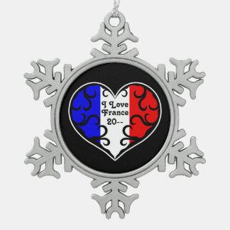 Frankreich-Herzandenken Schneeflocken Zinn-Ornament