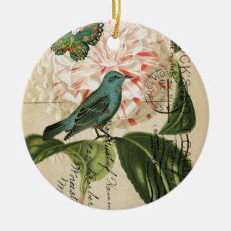 Französische botanische Kunst des Rundes Keramik Ornament