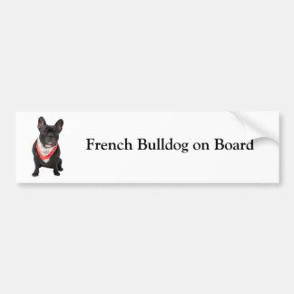 Französische Bulldogge an Bord des Autoaufkleber