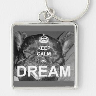 Französische Bulldogge behalten ruhigen Traum Schlüsselanhänger