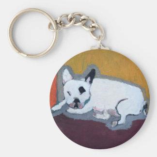 Französische Bulldogge Fauve Malerei Schlüsselanhänger
