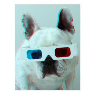 Französische Bulldogge mit Gläsern 3D Postkarte