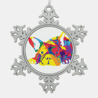Französische Bulldogge Stern Schneeflocken Zinn-Ornament