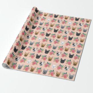 Französische Bulldoggen-Blumenverpackungs-Papier - Geschenkpapier