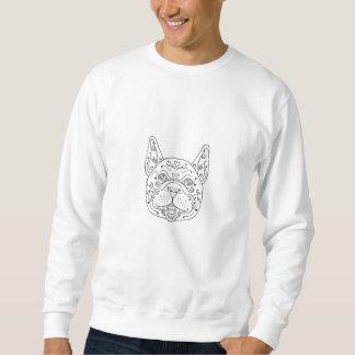 Französische Bulldoggen-Kopf-Mandala Sweatshirt
