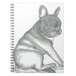 Französische Bulldoggen-Skizze-Art-Foto-Notizbuch Spiral Notizblock