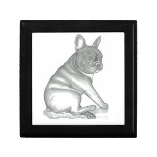 Französische Bulldoggen-Skizze-hölzerner Erinnerungskiste