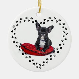 Französische Bulldoggen-Verzierung Keramik Ornament