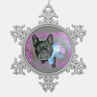 Französische Bulldoggen-Verzierung Schneeflocken Zinn-Ornament