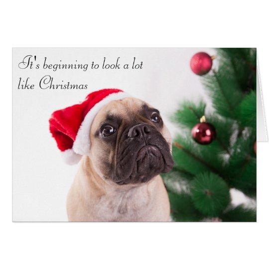 Französische Bulldoggen-Weihnachtskarte Grußkarte