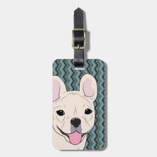 Französische Bulldoggen-Zickzack blaues Grün Kofferanhänger