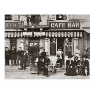 Französische Café-Bar-Straßenszene Postkarte