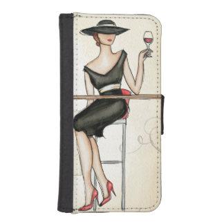 Französische Frau, die Rotwein trinkt iPhone SE/5/5s Geldbeutel