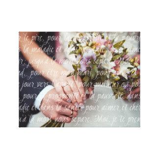 Französische Hochzeits-Versprechen überlagert auf Gespannter Galeriedruck