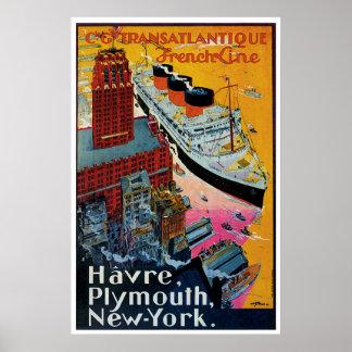 Französische Linie Vintage Schiffs-Anzeige Plakate