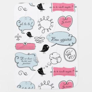 Französische Mode-Art-Sprache-Blasen Baby-Decken