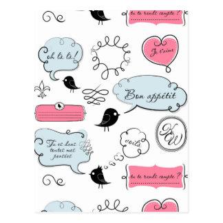 Französische Mode-Art-Sprache-Blasen Postkarte