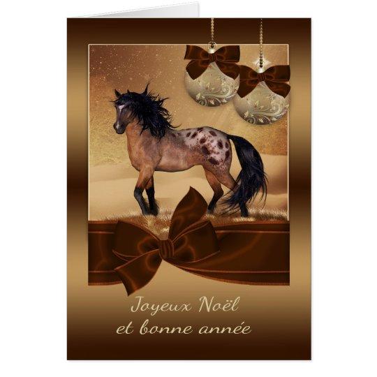 Französische Pferdeweihnachtsfeiertags-Gruß-Karte Grußkarte