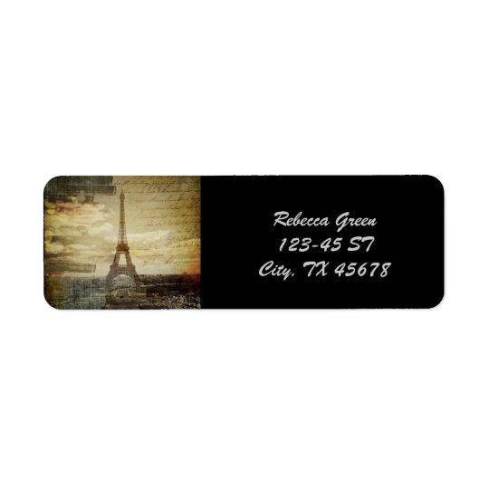 Französische Skripte moderner Vintager Turm Paris Rücksendeetiketten