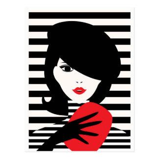 Französische stilvolle Modeillustration der Mode Postkarte