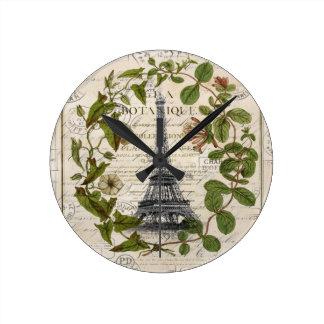 französischer botanischer Efeu verlässt Turm Paris Runde Wanduhr