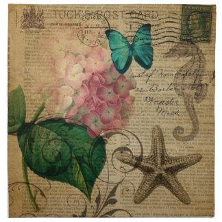 Französischer botanischer Kunst Seashell Stoffserviette