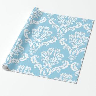 Französischer Damast, Damast-Muster - blaues Weiß Geschenkpapier