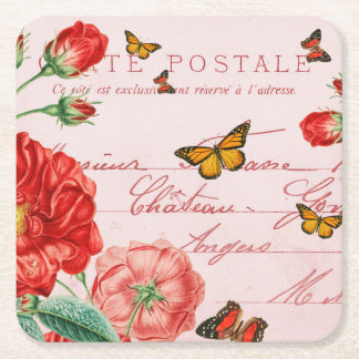 Französischer Vintager mit BlumenUntersetzer mit Kartonuntersetzer Quadrat