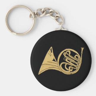 Französisches Horn-Musikinstrument-Zeichnen Standard Runder Schlüsselanhänger