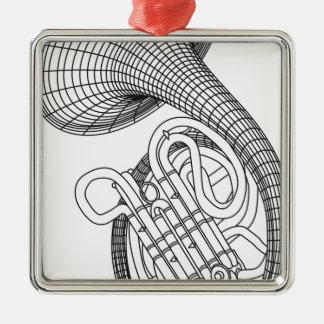 Französisches Horn Quadratisches Silberfarbenes Ornament