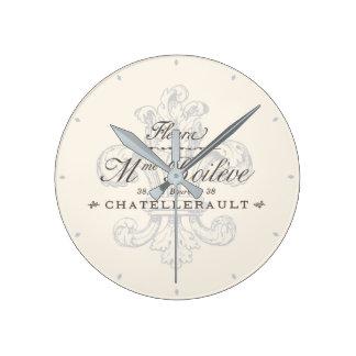 Französisches Lilie Chatellerault Grau Wanduhr