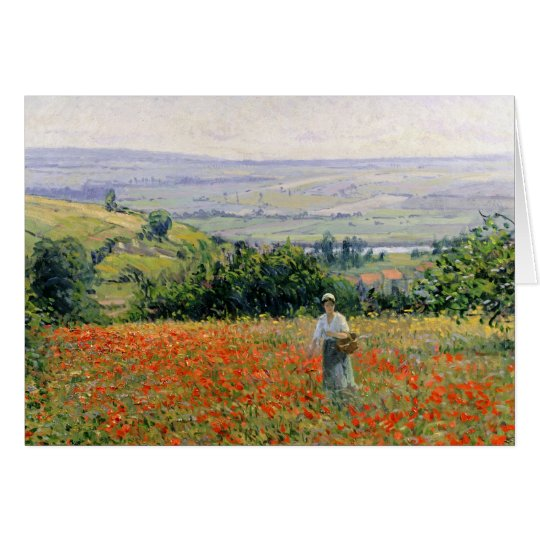 Frau auf einem Mohnblumen-Gebiet Karte