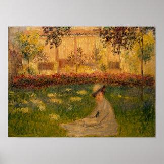 Frau Claude Monets | in einem Garten, 1876 Poster