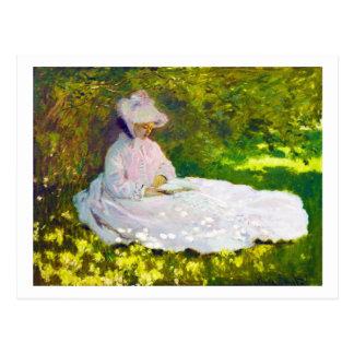 Frau, die Claude Monet liest Postkarte