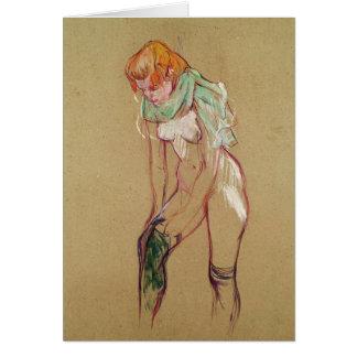 Frau, die ihren Strumpf, 1894 (Öl, hochzieht auf Karte