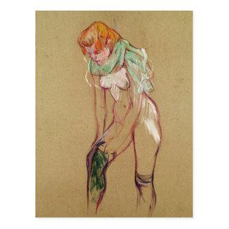 Frau, die ihren Strumpf, 1894 (Öl, hochzieht auf Postkarte