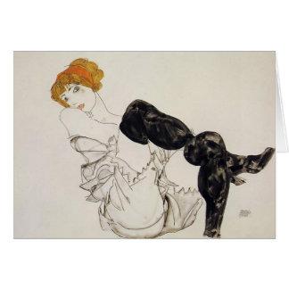 Frau Egon Schiele- in den schwarzen Strümpfen Grußkarte