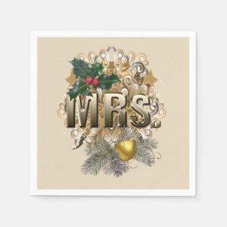 Frau. Erstes Weihnachten Serviette