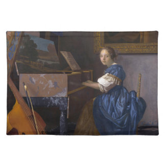 Frau gesetzt an einem Virginal durch Vermeer Stofftischset
