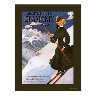 Frau im grünen Skifahren-Plakat Postkarten