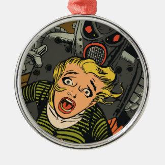 Frau in der Flucht Silbernes Ornament