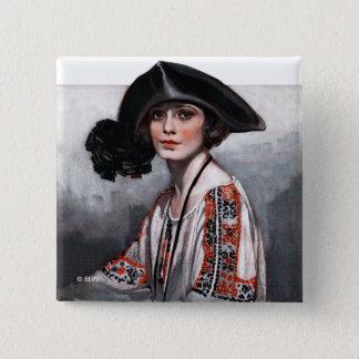 Frau in gestickter Bluse Quadratischer Button 5,1 Cm