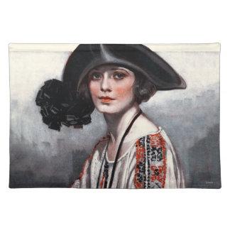 Frau in gestickter Bluse Tischset