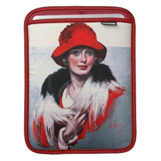 Frau in Red Hat iPad Sleeve