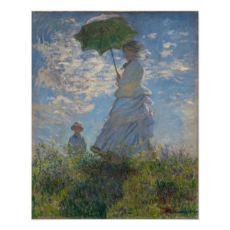 Frau mit einem Sonnenschirm durch Claude Monet Poster