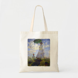 Frau mit einem Sonnenschirm durch Claude Monet Tragetasche