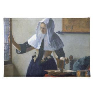 Frau mit einem Wasser-Krug durch Johannes Vermeer Tischset