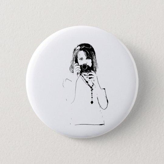 Frau mit einer Kamera Runder Button 5,1 Cm