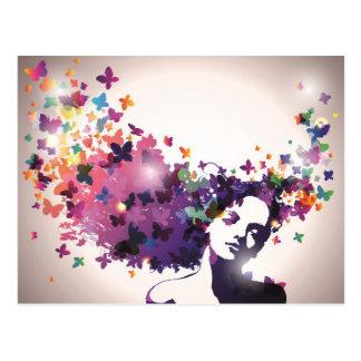 Frau mit Schmetterlingen Postkarte