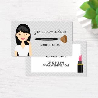 Frau mit schwarzem langem Haar-Maskenbildner Visitenkarte